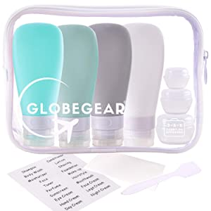 Travel Bottles Silicone & TSA Approved Clear Quart Size Bag for Toiletries and Liquid with Leak-Proof Containers & Accessories (model GG3)
