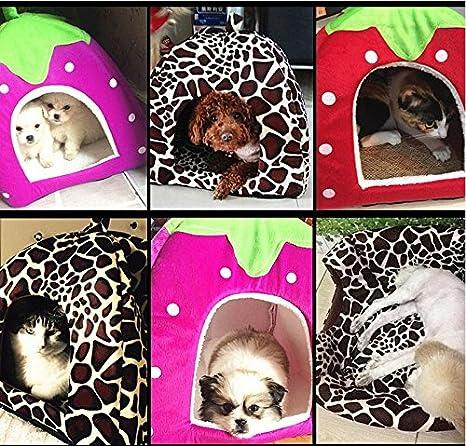 Oyfel Camas Mascotas Redondas Nidos Plegables Lavables Antideslizante Gatos Perros Cueva de Viaje C/ómodo Casa Sof/á Caseta Nido de Mongolia Encantador Forma de Fresa Morado