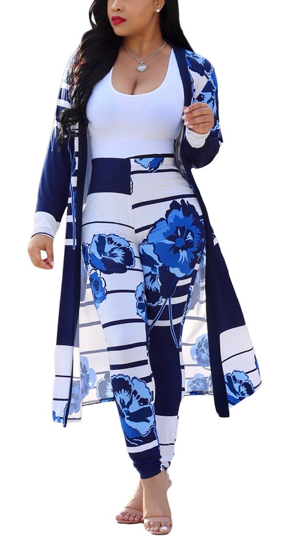 Playworld Womens 2 Piece Outfits Open Front Cardigan Stripe and Floral Cover up with Leggings