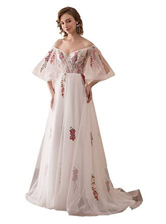 Mkbridal Womens Floral Embroidery Prom Dresses Off Shoulder Long Beach Wedding Dress