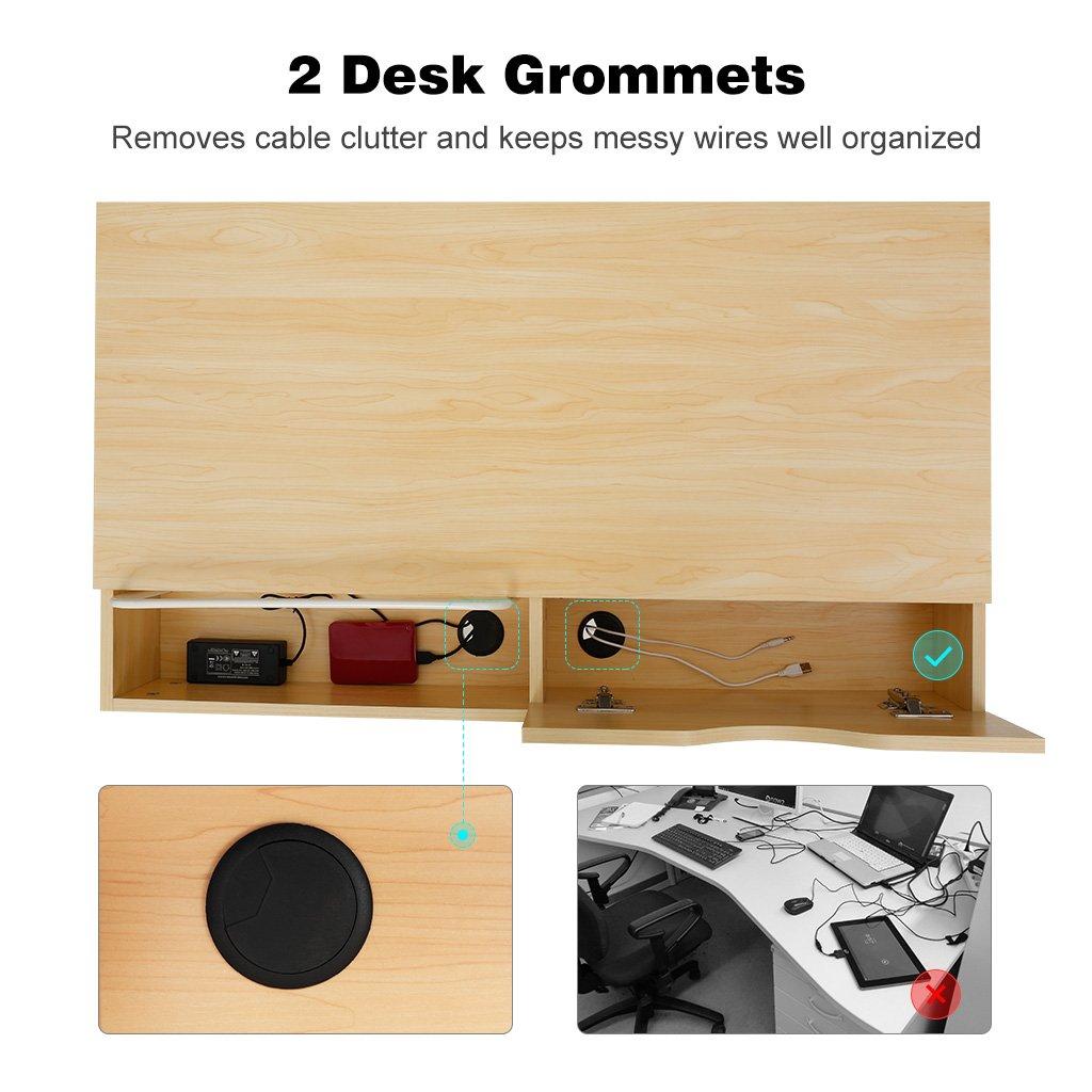 3d3a95455d26 LANGRIA Modern Minimalist Large Computer Desk with 2 Drawers 2 Built ...