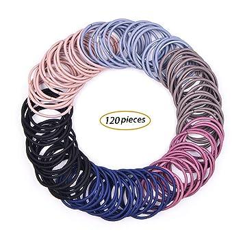 Amazon.com   LABOTA 120 Pieces 3mm Multicolor Elastic Hair Ties Hair Bands  Ponytail Holders No Metal Gentle Elastics   Beauty 0953336cf5a