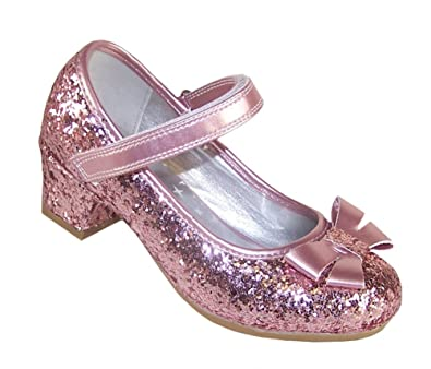 Girls Childrens Pink Sparkly Glitter Party Low Heeled Dressing Up Special  Occasion Shoes Wedding Bridesmaid Size