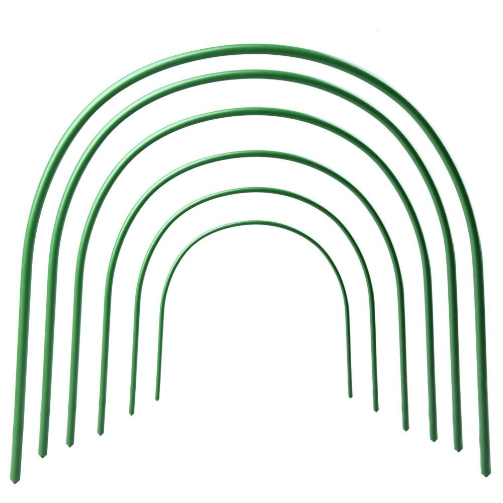 JYCRA Greenhouse Support Hoops,Rust-free Grow Tunnel Plant Cover Support,Steel Plastic Coated Hoops Greenhouse Garden Plants Protection Growing - 6Pcs
