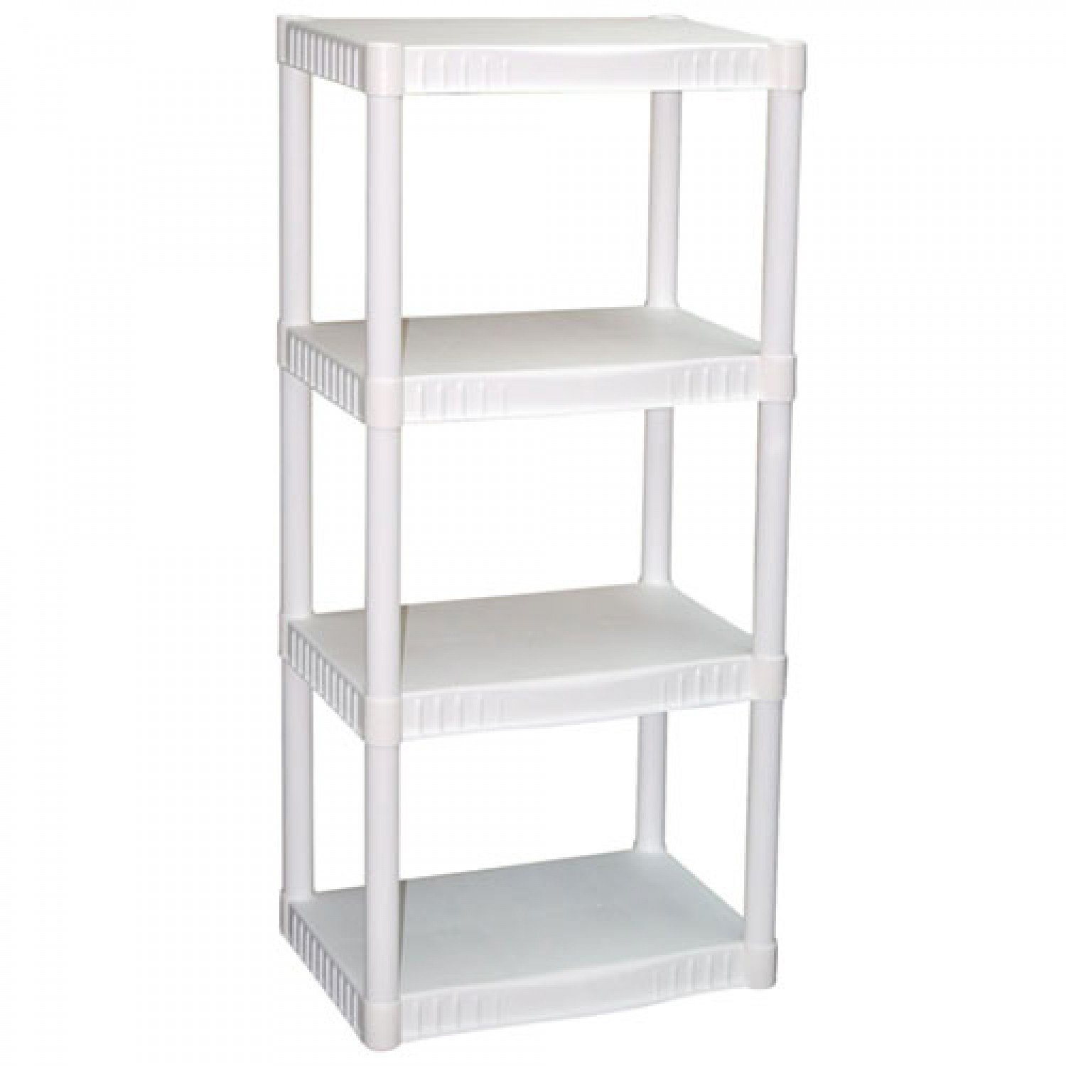Amazon.com: Plano 4-Tier Heavy-Duty Plastic Shelving, White, 2 ...