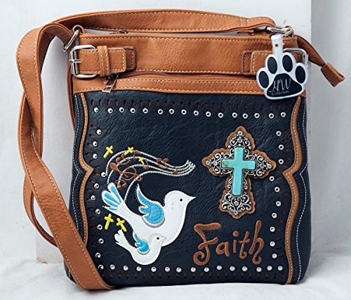 Handbag HW Black Shoulder Doves Collection Crossbody Purse Cross Concealed Western Carry Faith Bag rFr68pqn7