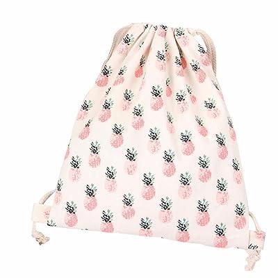 Sagton Pineapple Pringting Drawstring Backpack Canvas Shopping Bag Travel Bag good
