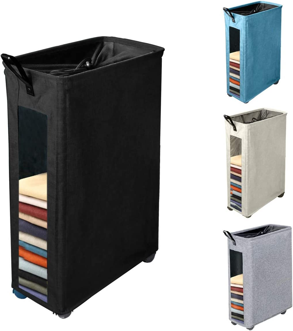 Henkelion Rolling Laundry Hamper, Collapsible Laundry Basket with Wheels And Handles, Tall Large Slim Narrow Foldable Storage Corner Bin with Visible Clear Window for Dirty Clothes - 27 Inches - Black