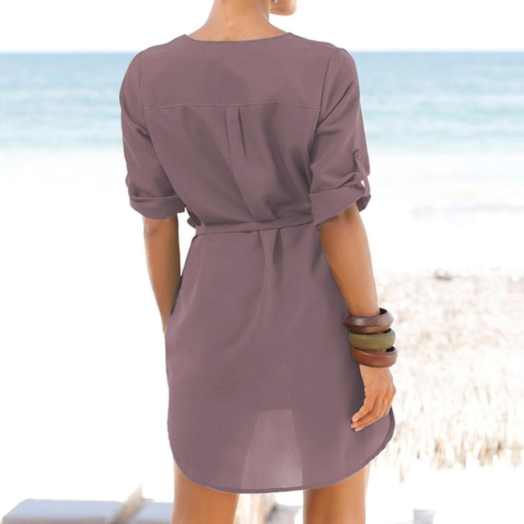 Mujer vestido largo Bohemian playa,Sonnena Informal de las mujeres sólido 1/2 mangad V-cuello de encaje-hasta bolsillo irregular dobladillo Vestido de playa ...