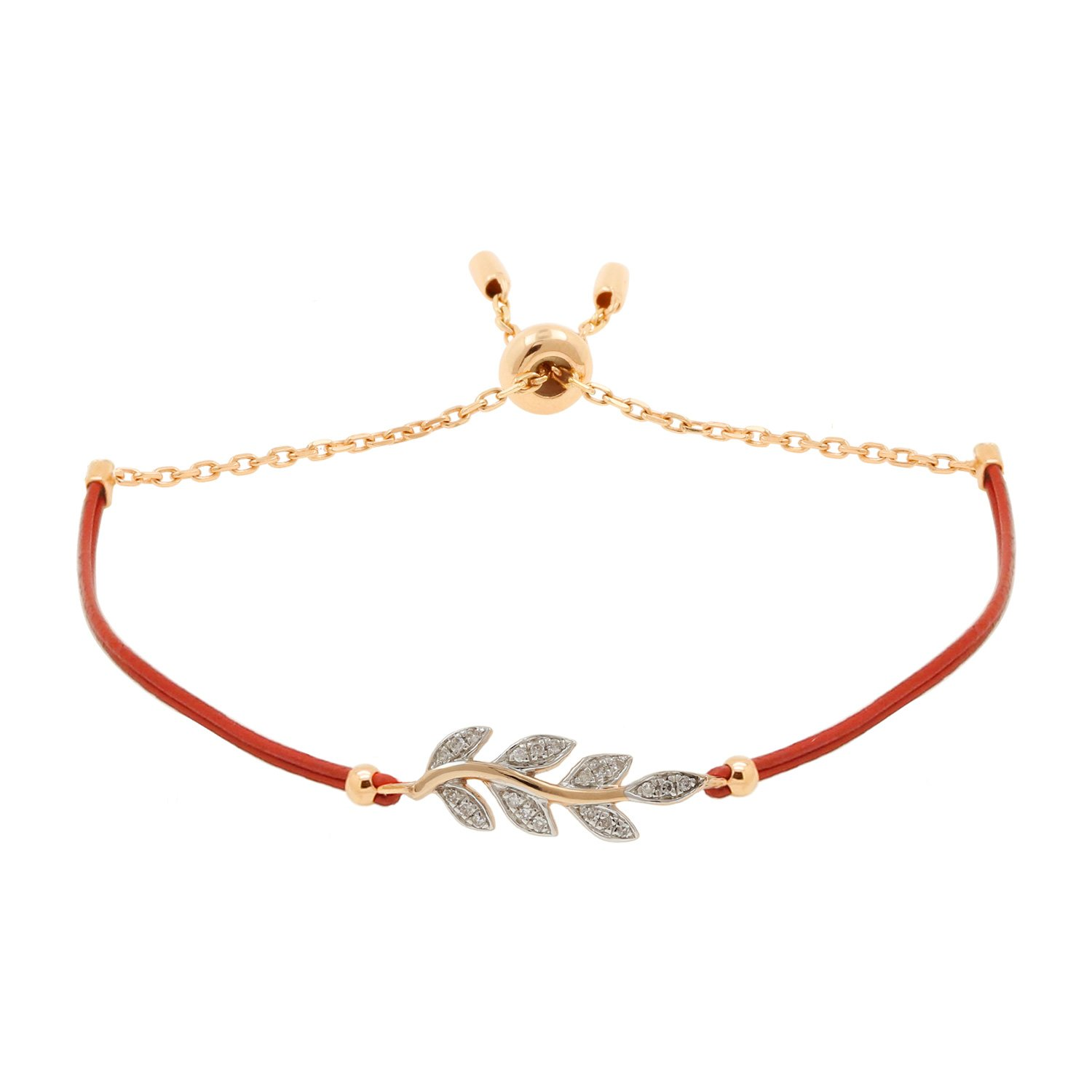 10kt Pink Gold Diamond Accent Olive Branch Charm Leather Cord and Chain Bolo Bracelet