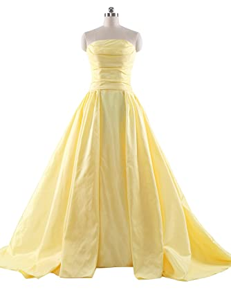SoAyle Straight Strapless Yellow Ruched Long Evening Dresses (2)