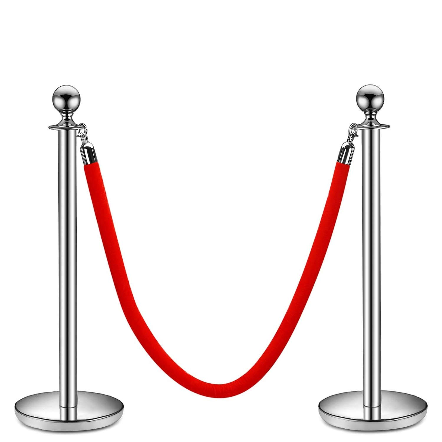 Flexzion Stanchion with Red Velvet Rope Stainless Steel Set of 2 Posts - Ball Round Top Crowd Control Queue Pole Barrier Ideal for Indoor Outside Theaters Museums Bank Hotel Trade Decoration (Silver) by Flexzion