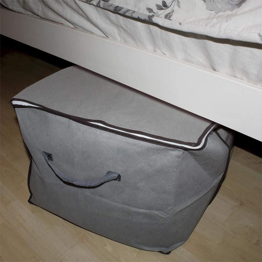 iGadgitz Home U7132 Bolsa de Tela Caja Gris con Ribete Marr/ón juego de 3 Almacenamiento Ropa de Bajo de la Cama Organizador Armario