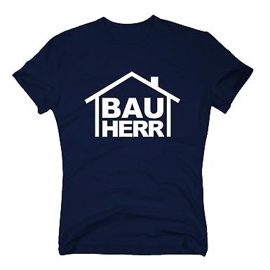 Fun T-Shirt Motiv BAUHERR blau S