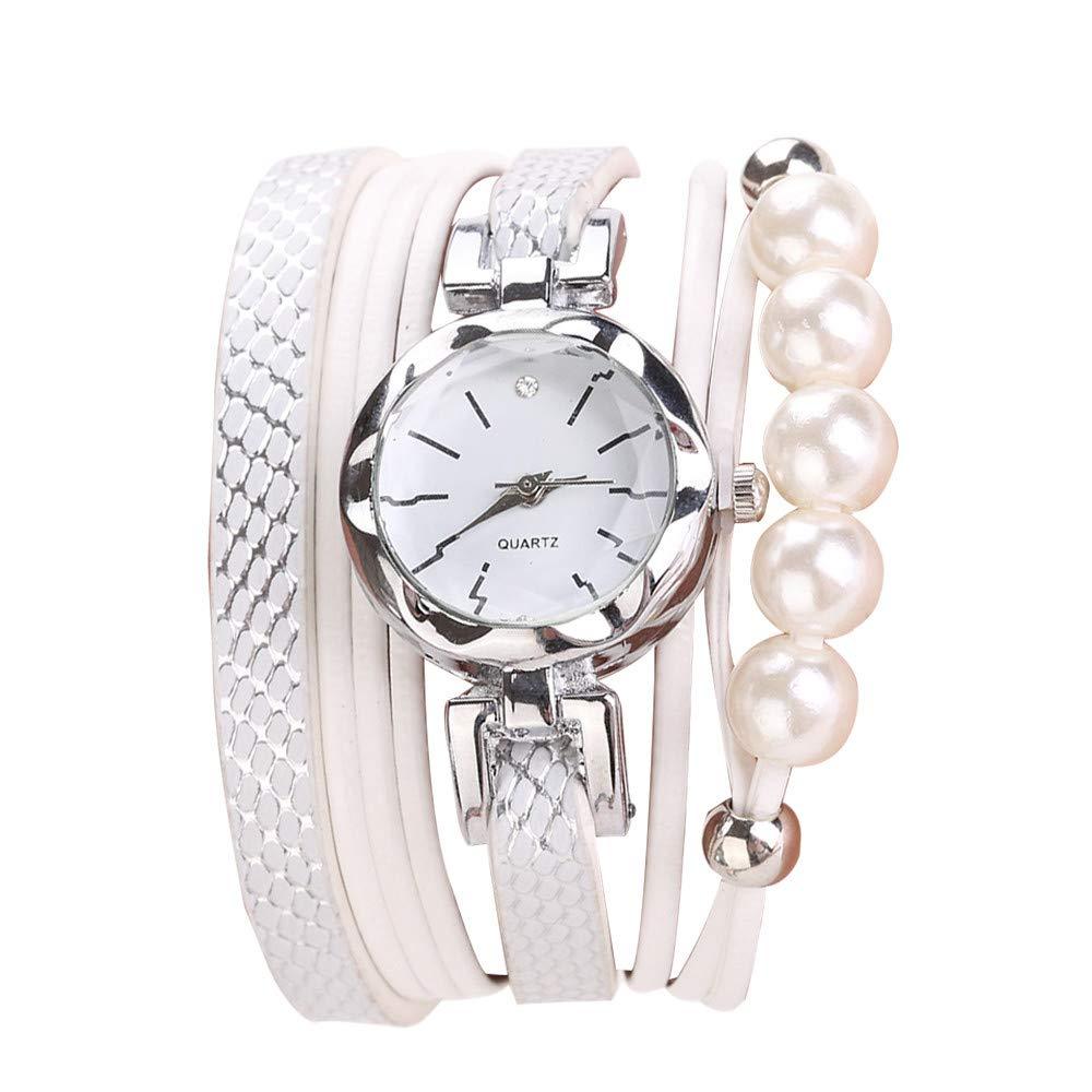Women Quartz Watch,Lovewe CCQ Women Fashion Casual Analog Quartz Women Rhinestone Pearl Bracelet Watch (D)