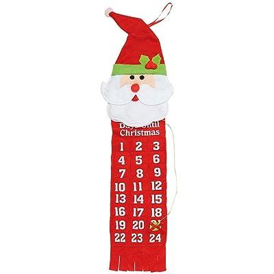 Feutre Père Noël Calendrier de l'Avent–Cs650, Red, One size (60cm x 14cm)