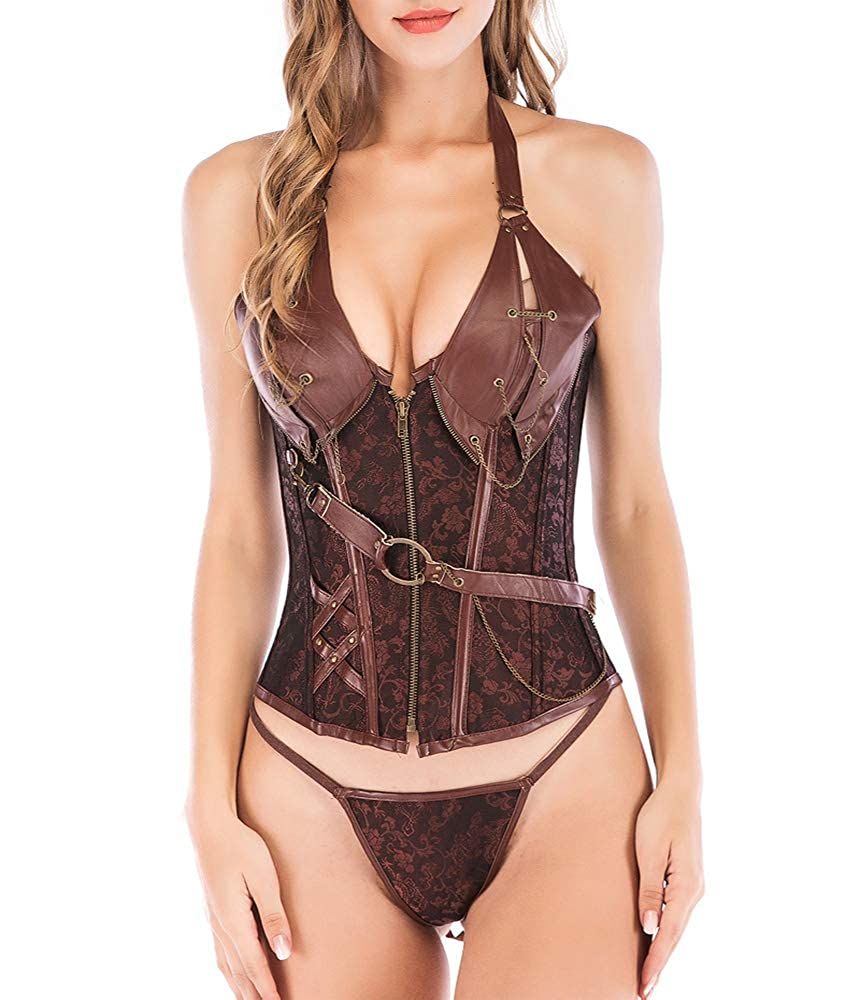 SLTY Fashion Corset Top Overbust Steampunk Bustier Lace Up Women's Buckle& Zipper Faux Leather Waist Cincher Corset Z850-USA