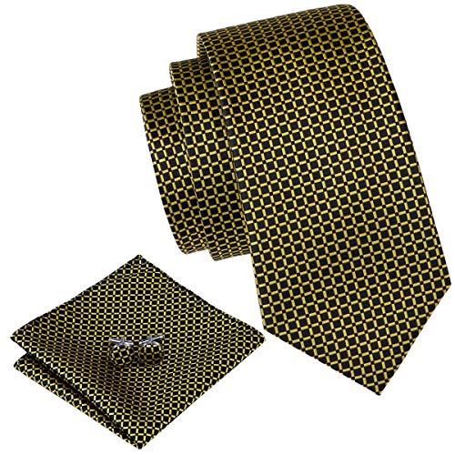 Barry.Wang Black and Yellow Ties Plaid Silk Business Handkerchief Cufflink
