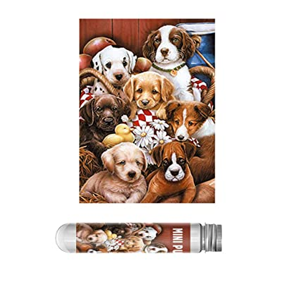 Lovely Dogs Family Photo Puzzles for Adults and Kids 150 Pieces Small Jigsaw Puzzles Challenge Floor Puzzle Kids DIY Toys for Home Decor Brain Teaser Puzzles Board Game Family Learning Toys: Toys & Games