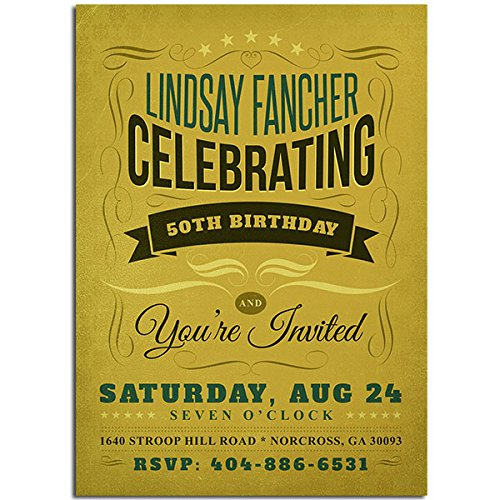 50th Green Birthday Party Invitations