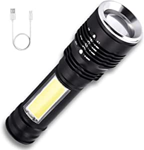 Flashlights Rechargeable USB AUSELECT Portable Ultra Bright Zoomable Tactical Flashlight with LED COB Work Light Emergency Flashlight