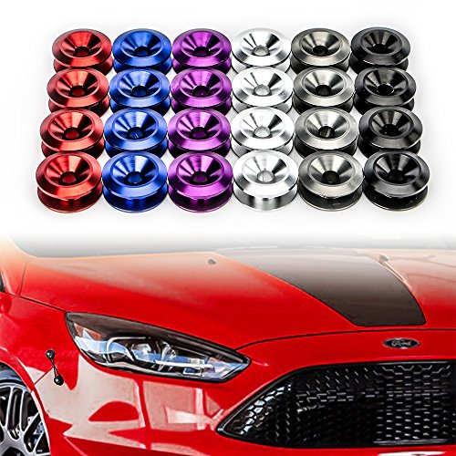 JDM Bumper Quick Release Fasteners For Car Bumpers, Trunk Fender and Hatch Lids O-Rings x 4 (Red Trunk Lid)