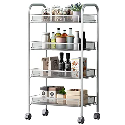 amazon com 4 layers caster kitchen rack move trolley living room rh amazon com bathroom storage hacks bathroom storage racks white amazon