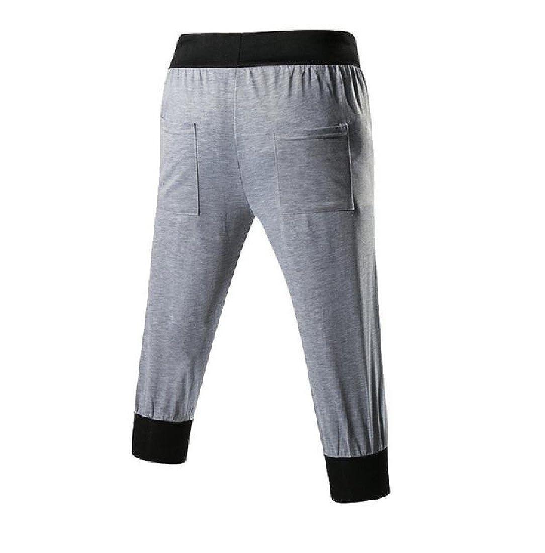 Vska Men Jogger Sweatpants Shorts Large Pocket Drawstring Carpi Pants