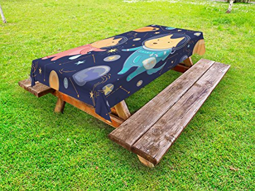 Ambesonne Space Outdoor Tablecloth, Cartoon Dog and Cat Floating Among The Stars Animal Astronauts Exploring Universe, Decorative Washable Picnic Table Cloth, 58 X 120 inches, Multicolor by Ambesonne