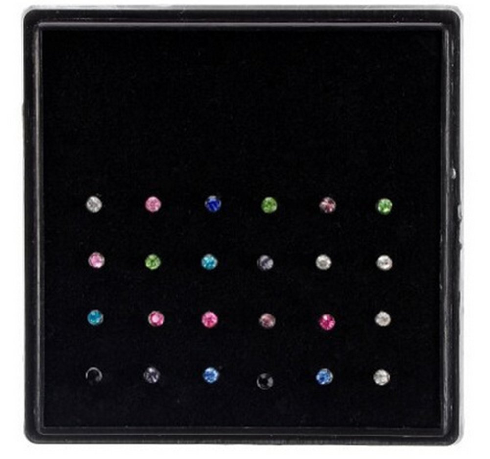 Hosaire 24 Pcs Nose Ring Surgical Steel Multicolor Crystal Body Piercing Nose Lip Bar Stud Ring Piercing Jewelry