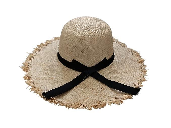 3b4cc2a6a3f4e XueXian(TM) Mens Wide Brim Sun Farmer Natural Hat with Black Bow Ribbon (