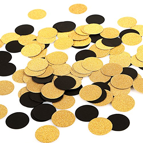 MOWO Glitter Paper Confetti Circles Wedding Party Decor and Table Decor 1.2'' in Diameter (glitter gold,black,200pc)]()