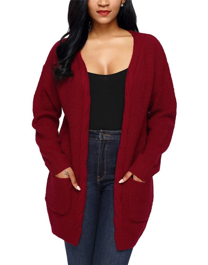 Vanbuy Women's Fall Knit Sweater Long Sleeve Open Front Cardigan Jacket with Pockets Z174-27682-Burgundy-XXL