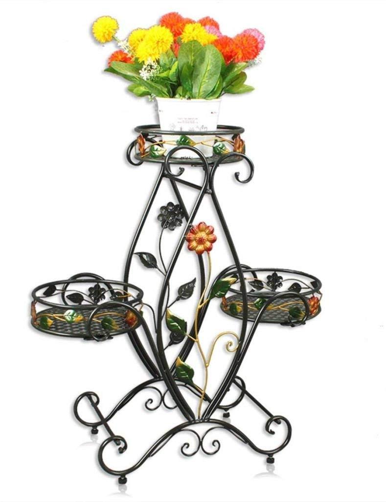 HJZ\ Espositore per Fiori da Giardino in Ferro e da Giardino con Struttura in Ferro a 3 vasi, espositore per Piante in Stile Europeo, (Dimensioni   Nero)
