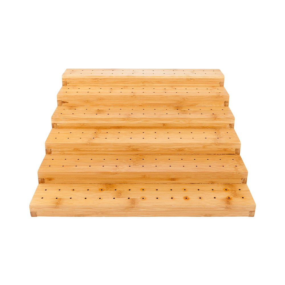 Multi Level Rectangular Bamboo Food Skewer Holder: Perfect for Cocktail Parties and Catering Events – Six Level Biodegradable Pick Stand and Food Display – 180 Holes – 1-CT – Restaurantware