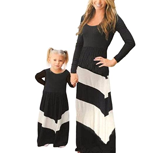 d124196a2ca Amazon.com  Daxin Mother and Daughter Stripe Stitching Dress Family ...