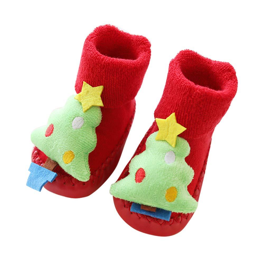 Ruimin 1 Pair Newborn Christmas Floor Socks Xmas Anti-Slip Toddler Slippers Socks for 0-2 Years