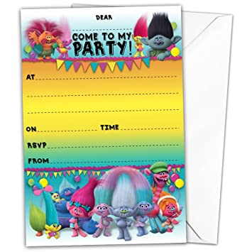 Pack of 20 glossy birthday party invitations cards inspired by pack of 20 glossy birthday party invitations cards inspired by trolls with 20 x envelopes magical stopboris Gallery