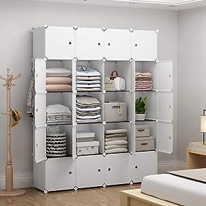 YOZO Portable Closet Wardrobe Modular Dresser Chest Drawer Ployresin Clothes Storage Organizer Cube Shelving Unit Multifunction Toy Cabinet Teens Kids Bookshelf DIY Furniture, White, 20 Cubes