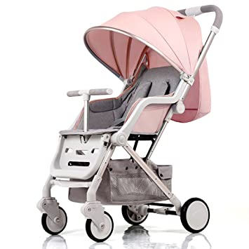 ZWW electronic Cochecito de bebé plegable con 4 ruedas que absorben ...