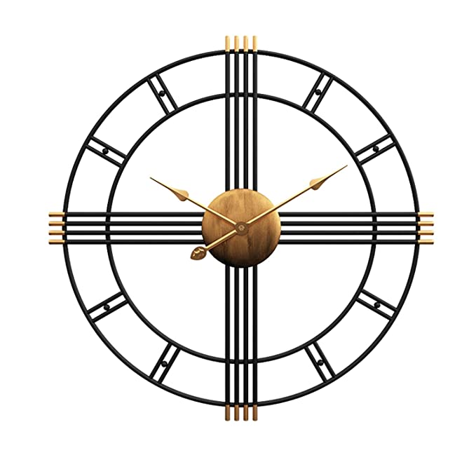 "Amazon.com: Aero Snail 20"" Metal Wall Clock Decorative Round 3D Hollow Non-Ticking Silent Roman Numeral Office Home Hanging Clocks: Home & Kitchen"