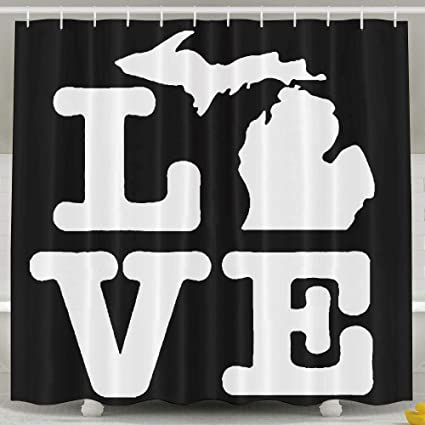 Water Repellent Shower Curtain I Love Michigan 100 Polyester Fabric 47quot