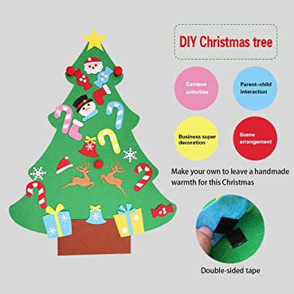Regali Di Natale In Feltro Fai Da Te.Theshy Albero Di Natale In Feltro Fai Da Te Con Ornamenti Per