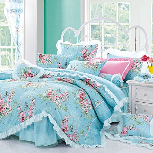 Best Bedding set 4- Piece Cotton Printed Pink Rose Floral Lace Duvet Cover Sets (Duvet Cover+Bed Sheet+Pillow Cases) For Girls Blue (Pink Floral Bedding)