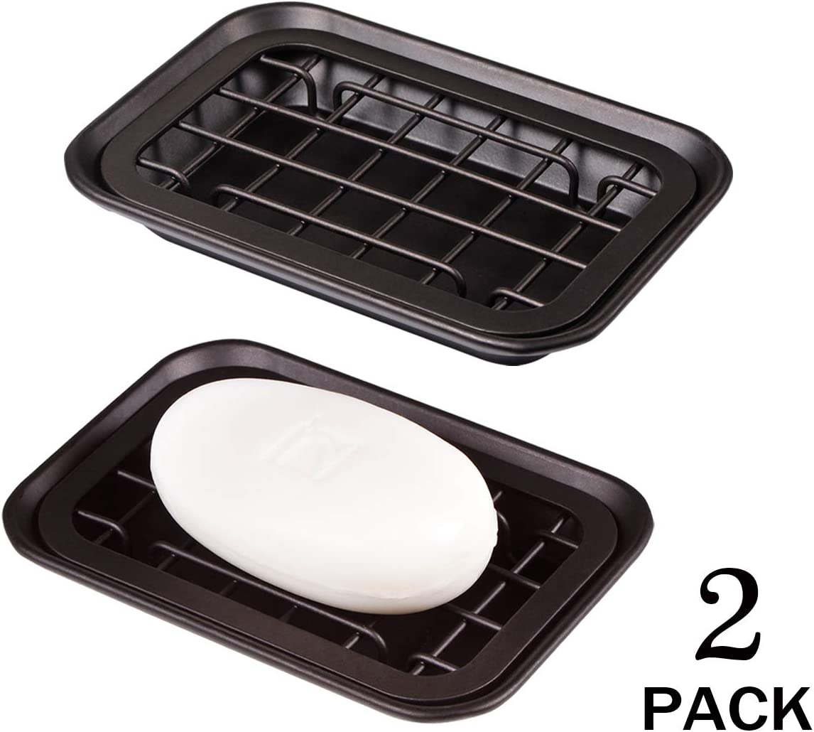 Rust Resistant Metal 2-Piece Soap Dish Tray with Drainage Grid and Holder for Kitchen Sink Countertops to Store Soap Kitchen and Bathroom Soap Dish Tray Bronze 2 Pack Scrubbers Sponges