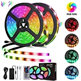 LED Light Strip, 10M/32.8Ft 300LEDs RGB SMD 5050 Color Changing with 44-Keys Remote Control, IP65 Waterproof 12V Power Decoration for Kitchen Wedding Party Garden House (10M/32.8Ft 300LED)