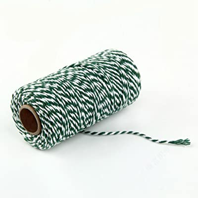 AKOAK Bakers Twine, 1 Roll 109 Yards Cotton Twine Packing String for Gift Wrapping, Crafts and Decoration (Green+White) : Office Products