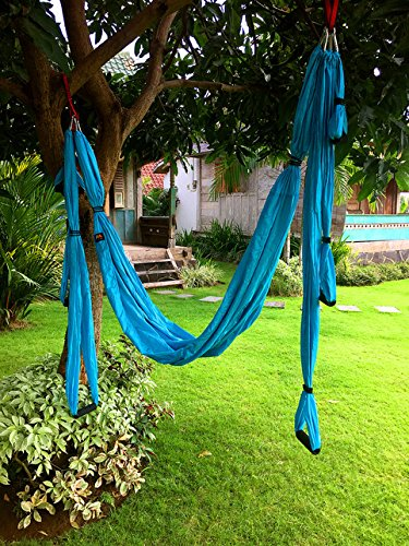 Aerial Yoga Swing Antigravity Trapeze Set Flying Yoga Nylon Hammock Slips Anti gravity Inversion Exercises Kit for Indoor & Outdoor with 50 inches Handles Extensions Straps Daisy Chain Included