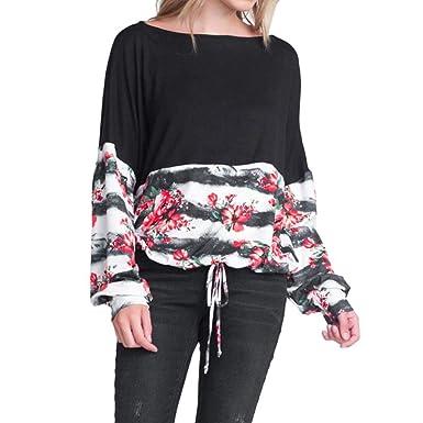 SEWORLD Damen Mode Freizeit Oberteile Bluse Herbst Einzigartig Frauen Strand Damenmode Lässige Lose Blumendruck Schnürung Schwarz Casual Bluse Top