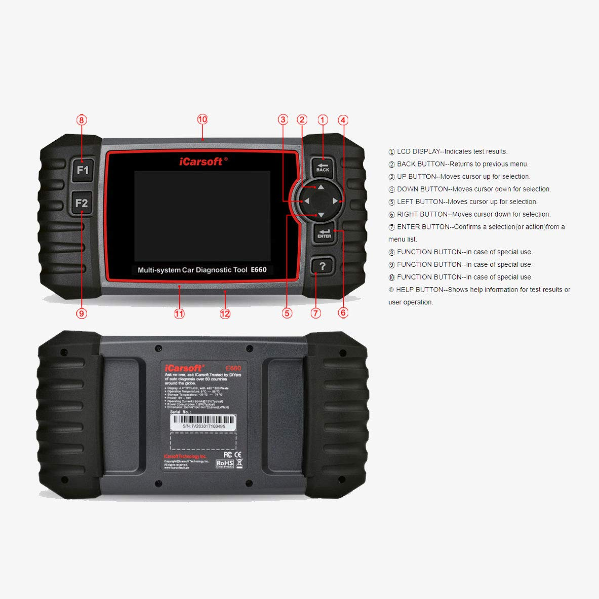 iCarsoft E660 ABS+SRS+SAS+EPB+OBD II Diagnostic Tool by iCarsoft (Image #9)